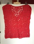 Czerwona azurkowa bluzka tshirt rozm 40...