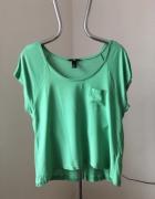Zielona luźna koszulka H&M rozm M...