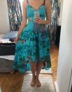 Turkusowa bogato zdobiona sukienka 38...