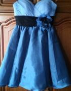 Błękitno niebieska suknia klosz 34...