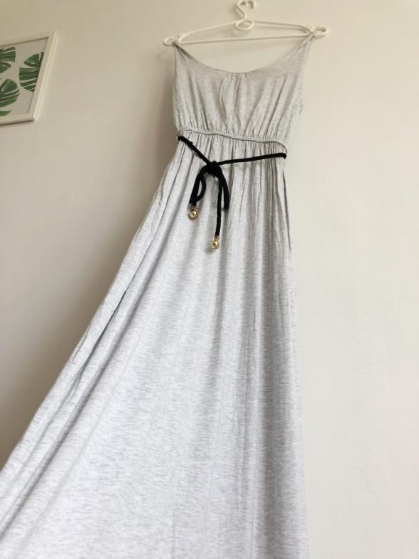 Szara sukienka maxi na ramiączkach hippie boho...
