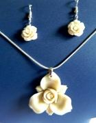 Kremowy koral i srebro zestaw biżuterii kwiaty...