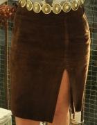 brązowa spódnica ze skóry Mexx...