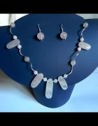 Różowy kwarc mszysty i srebro piękna biżuteria...