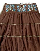 Nowa BERSHKA spódnica floral haft boho folk L...