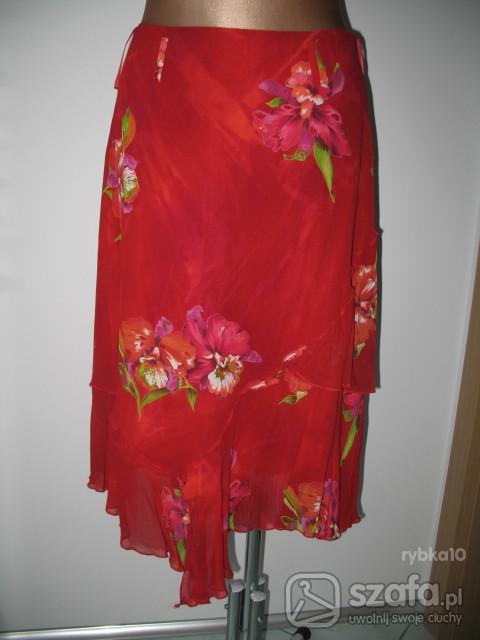 Spódnice spódnica czerwona w kwiaty