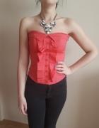 Różowy gorset bluzka żabot Jane Norman XS 34...