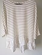 Elegancka bluzeczka w paski z falbanką Esprit L XL...