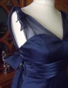 Granatowa suknia rozkloszowana halki 36 38...