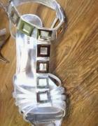 Srebrne szpilki sandały 37 DUNE...