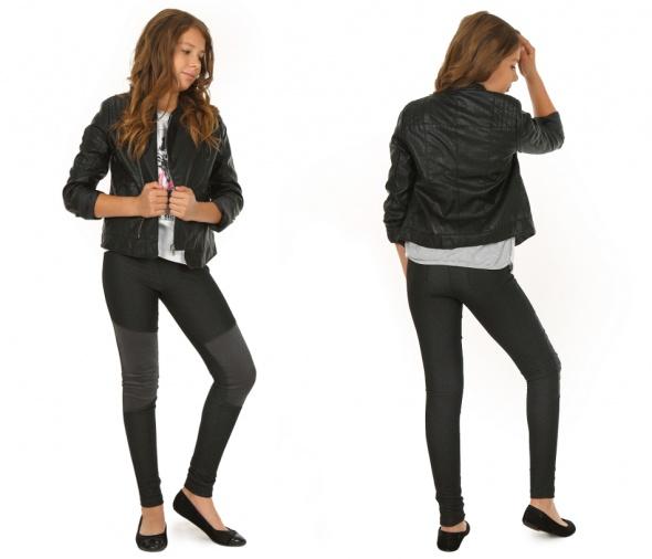 Leginsy jeansowe ze sztruksowymi wstawkami 158
