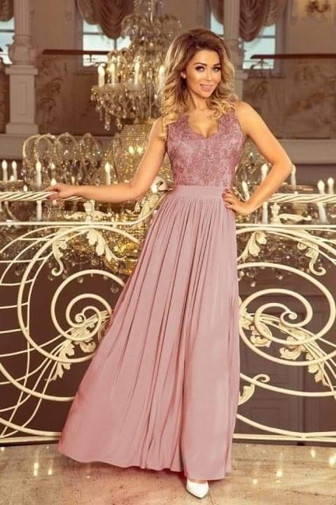 Nowa długa maxi suknia taupe M...
