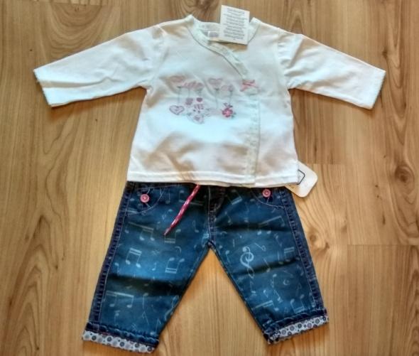 Komplety Nowe jeansy niemowlęce dziewczęce i biała bluzeczk