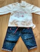 Nowe jeansy niemowlęce dziewczęce i biała bluzeczk...
