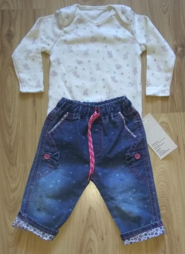 Nowe body z długim rękawem i spodnie jeansowe 68