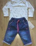 Nowe body z długim rękawem i spodnie jeansowe 68...