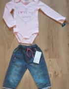 Nowe różowe body z długim rękawem i spodnie jeansy...