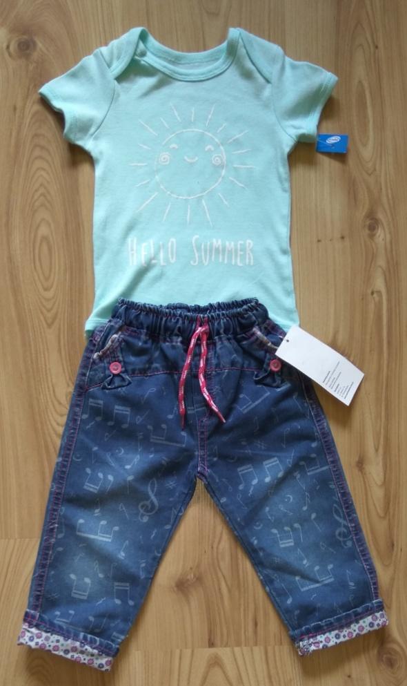 Komplety Miętowe body oraz cienkie spodnie jeansy 92