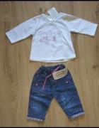 Biały kaftanik bluzeczka i spodnie jeansowe 68...