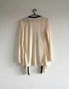 beżowy sweter S M L nude boho oversize waterfall kardigan luźny narzutka