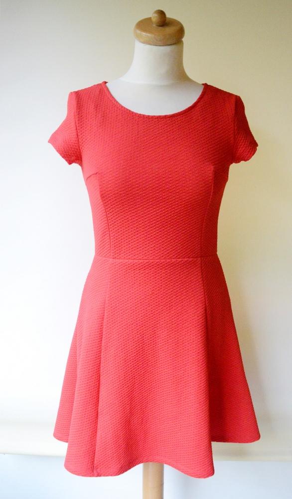 Sukienka Czerwona H&M M 38 Pikowana Rozkloszowana...