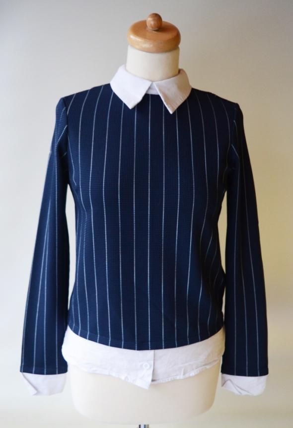 Bluzki Bluzka Vero Moda S 36 Paski Kołnierzyk Granatowa