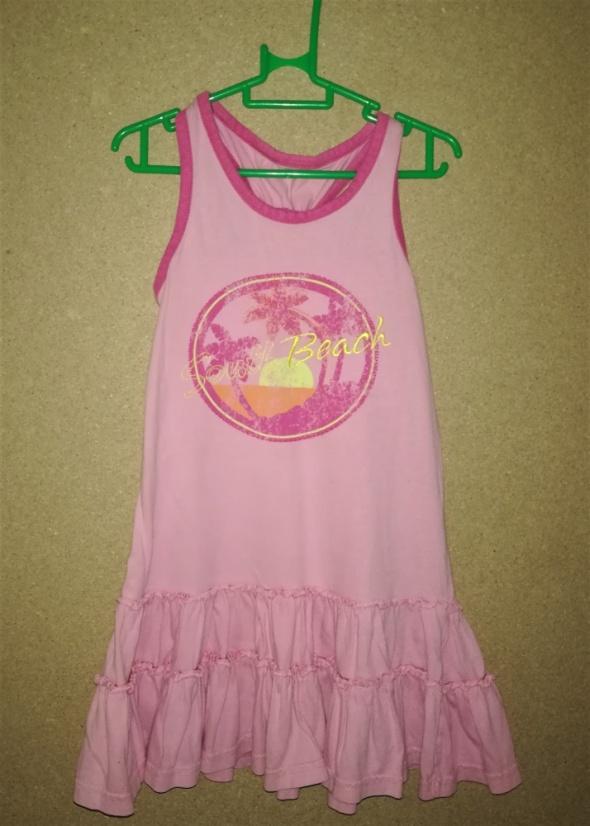 Różowa bawełniana plażowa sukienka 98 cm 2 3 lata
