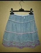 Barbie Jeansowa trapezowa spódnica z haftem 122 128 cm