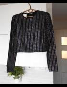 Zara nowy sweter czarny z nitami zdobiony kryształki