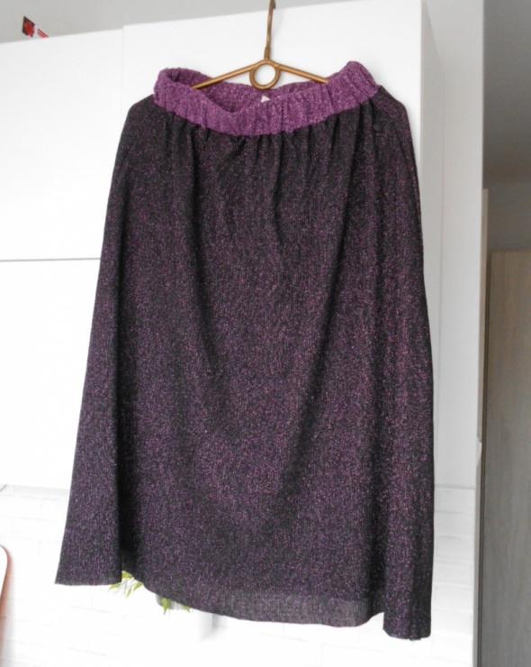 Numph nowa spódnica midi brokatowa fioletowa retro...