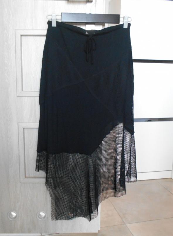Spódnice Zara spódnica asymetryczna siatka czarna midi