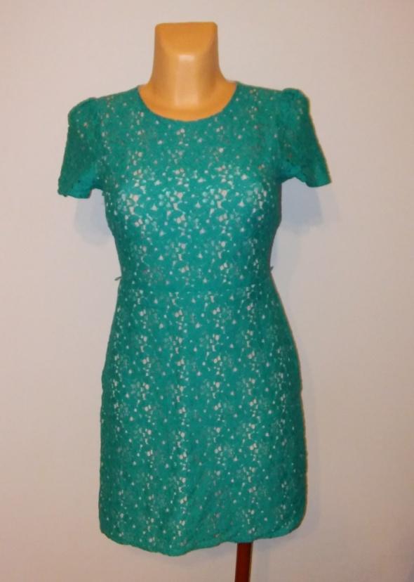 Sukienka koronkowa miętowa zielona XS