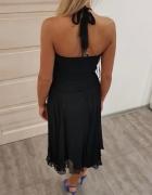 Sukienka czarna zwiewna tiulowa z koronką szyfonowa...