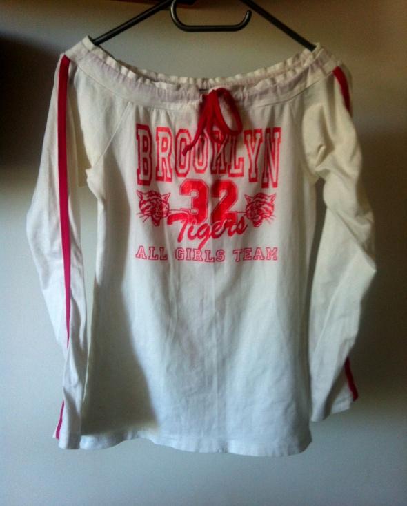 Bluzy Brooklyn bluza sportowa biało różowa XS S M dekolt