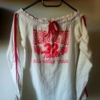 Brooklyn bluza sportowa biało różowa XS S M dekolt