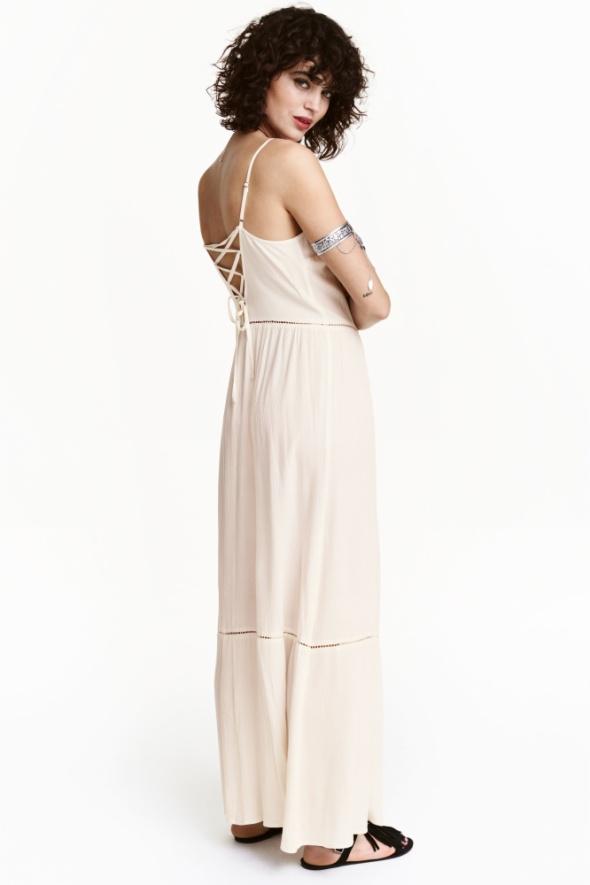 Suknie i sukienki H&M Coachela długa sukienka boho ecru sznurowana na plecach 34 maxi