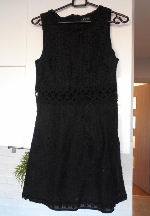 Topshop czarna sukienka gipiura koronka wstawki...
