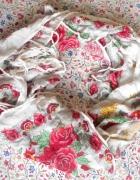 retro vintage biała chusta ludowa wzory kwiaty...