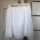 Cubus biała spódniczka midi koronkowe wstawki klasyka bawełniana