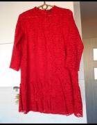 Zara czerwona koronkowa sukienka falbanki...