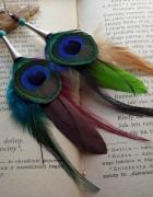 kolczyki boho etno hippie pióra indiańskie kolorowe srebrne etn...