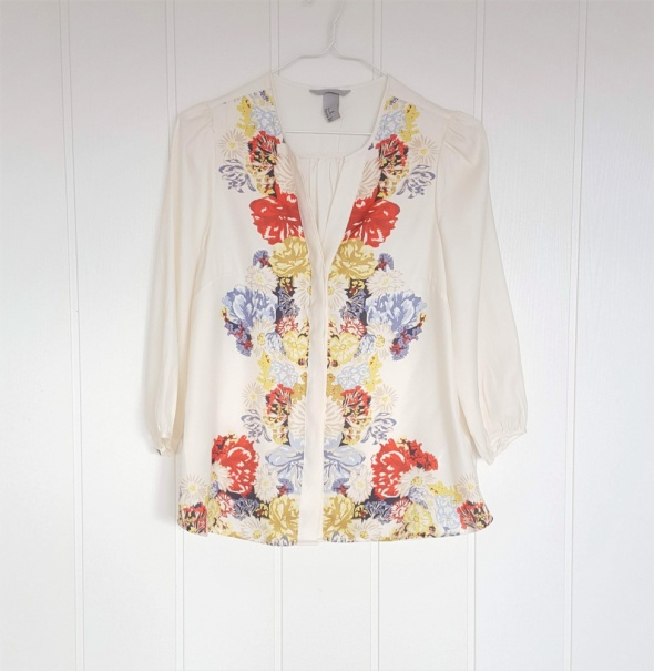 Elegancka bluzka koszula H&M 38 M kremowa kolorowa kwiaty satyn...
