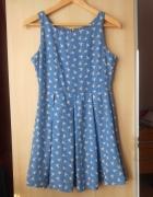 Glamorous sukienka wzory ptaki ptaszki baby blue...
