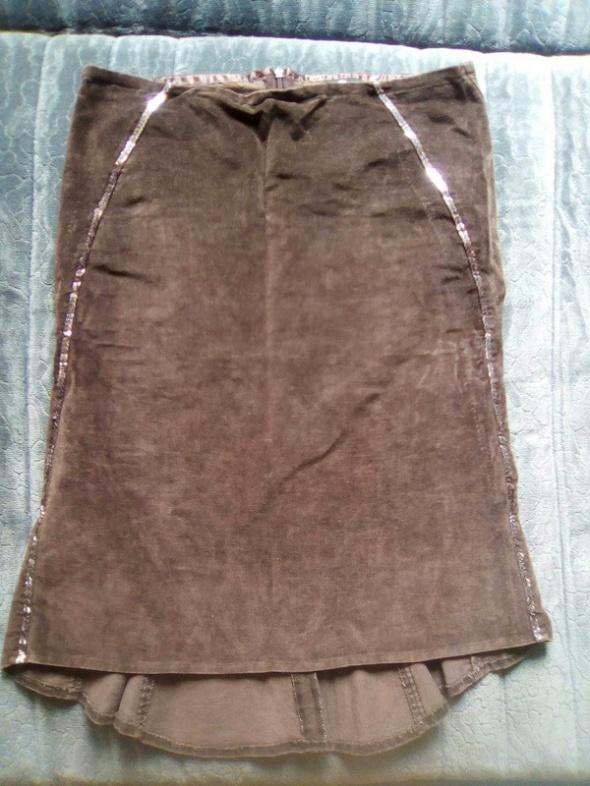 Spódnice spódnica brąz asymetryczna aksamit