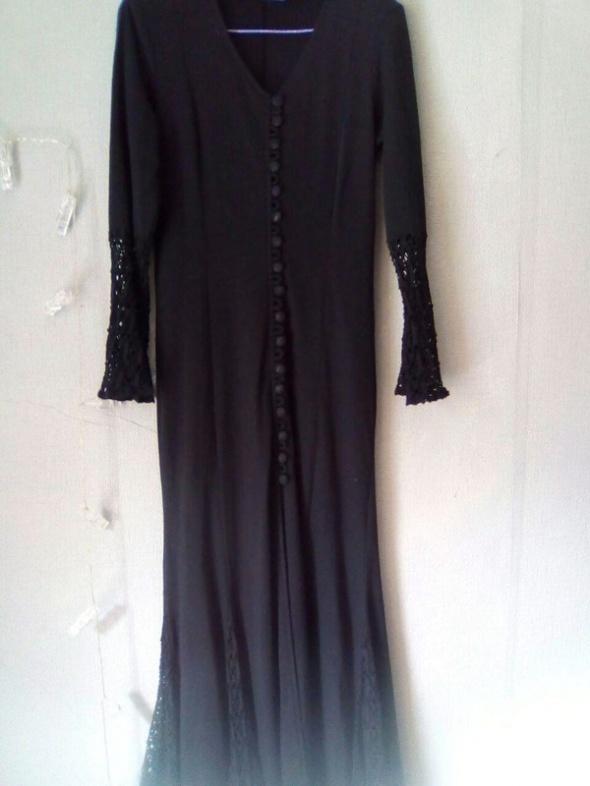 czarna długa sukienka goth rock vintage...