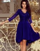 Chabrowa asymetryczna sukienka góra koronka S 36...