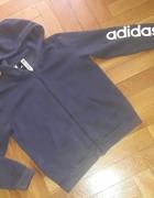 Granatowa bluza rozpinana Adidas z kapturem M...