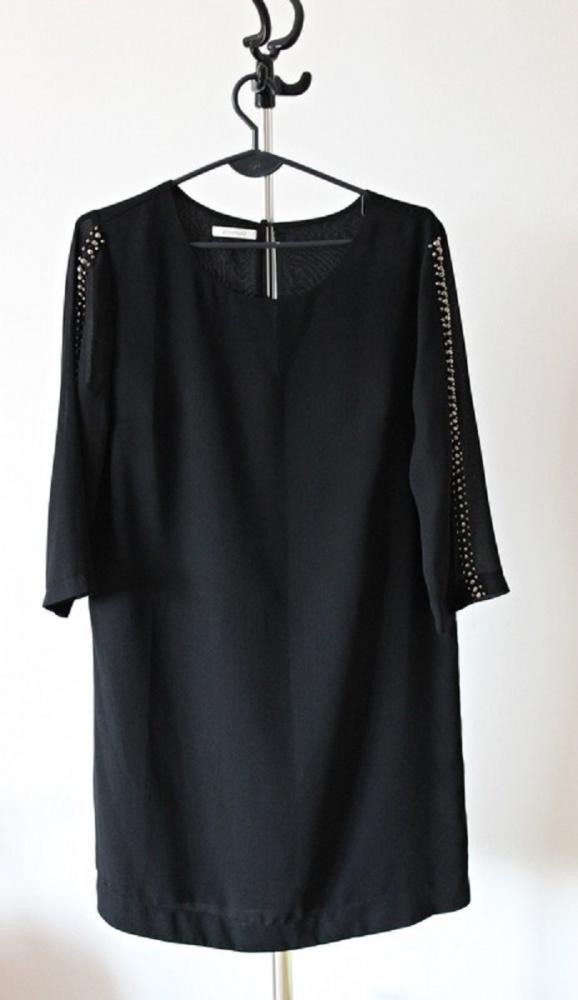 Suknie i sukienki Granatowa sukienka w koraliki Promod