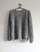 włochaty sweter szary S M L boho oversize fluffy włochacz casua...