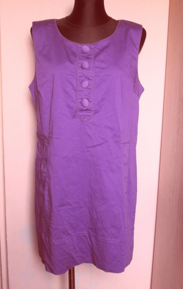 New Look fioletowa sukienka tunika guziki kieszenie